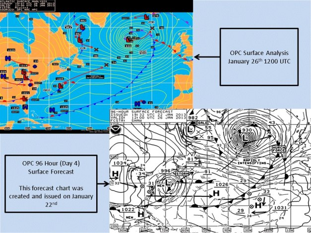 OPC surface verification vs. 96-hr forecast for the 01/26/13 North Atlantic bomb.