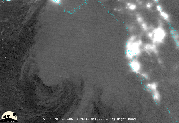 Andrea as seen on from the Day-Night Band on the Suomi-NPP satellite valid at 0726 UTC on 06/06/13.