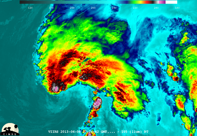 Enhanced Infrared imagery from the Suomi-NPP satellite valid at 0726 UTC on 06/06/13.