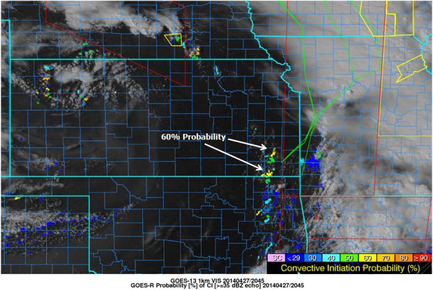 Visible satellite image from GOES-13, GOES-R Probability of Convective Initiation [%], and NWS COnvective Watches and Warnings valid 2045 UTC 27 April 2014.
