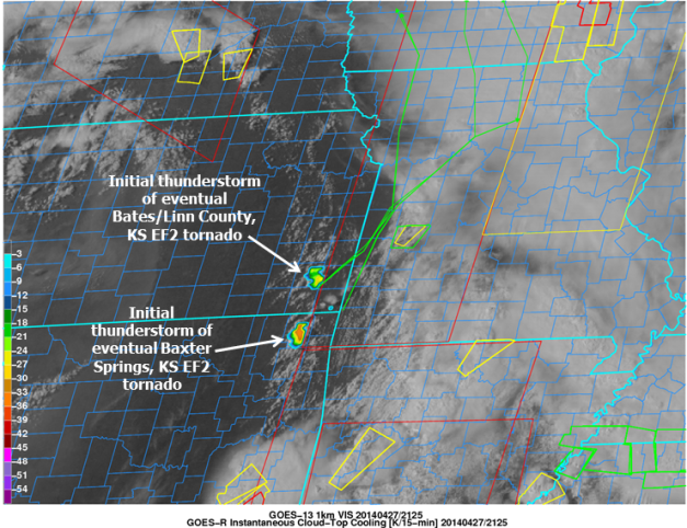 Visible satellite image from GOES-13, GOES-R Convective Cloud-Top Cooling [K per 15 minutes], and NWS COnvective Watches and Warnings valid 2045 UTC 27 April 2014.