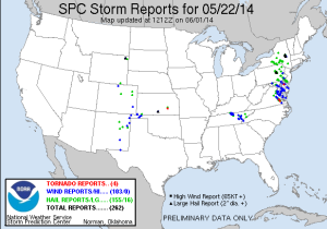 Fig. 4: SPC storm reports for May 22, 2014.