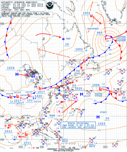 OPC West Atlantic Surface Analysis valid at 18z on 08/27/14.