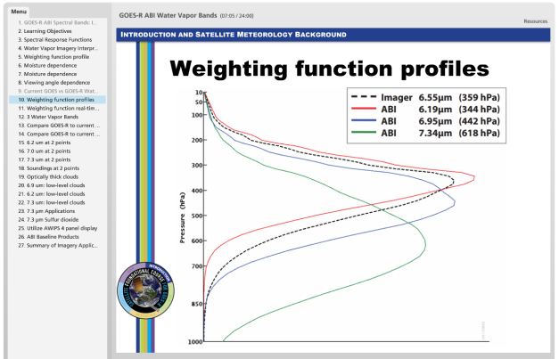 WV weighting function profiles
